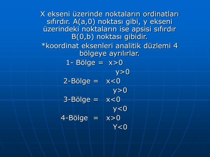 X ekseni üzerinde noktaların ordinatları sıfırdır. A(a,0) noktası gibi, y ekseni üzerindeki noktaların ise apsisi sıfırdır B(0,b) noktası gibidir.