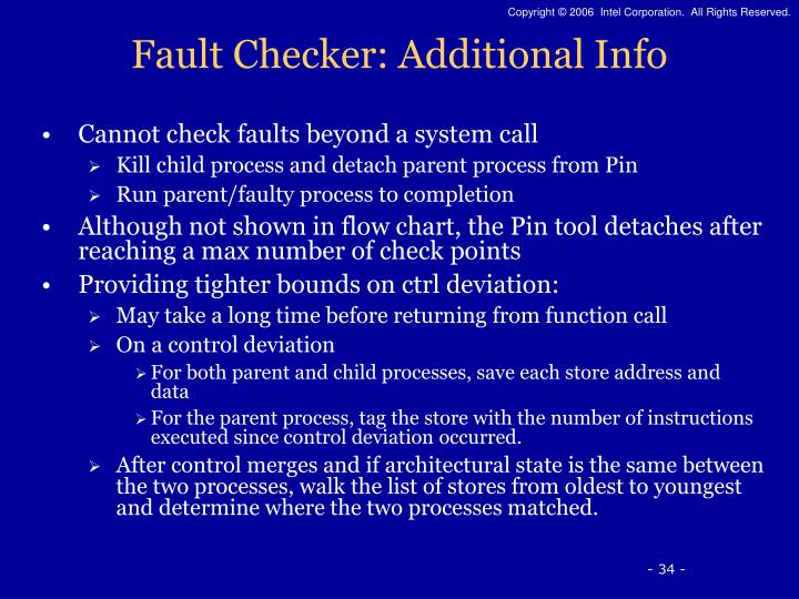 Fault Checker: Additional Info