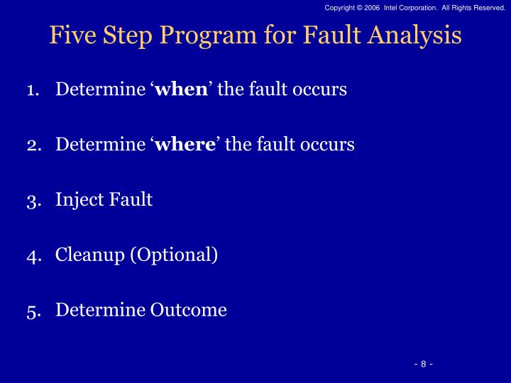 Five Step Program for Fault Analysis