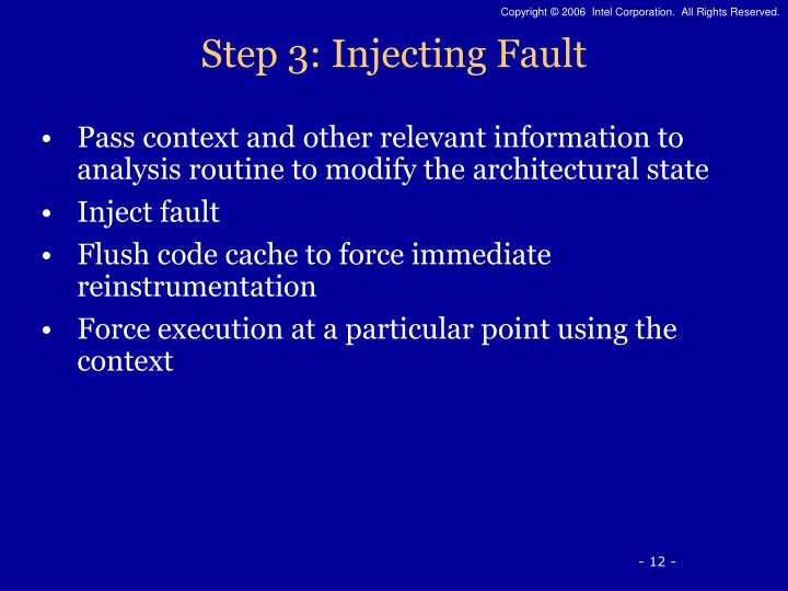 Step 3: Injecting Fault