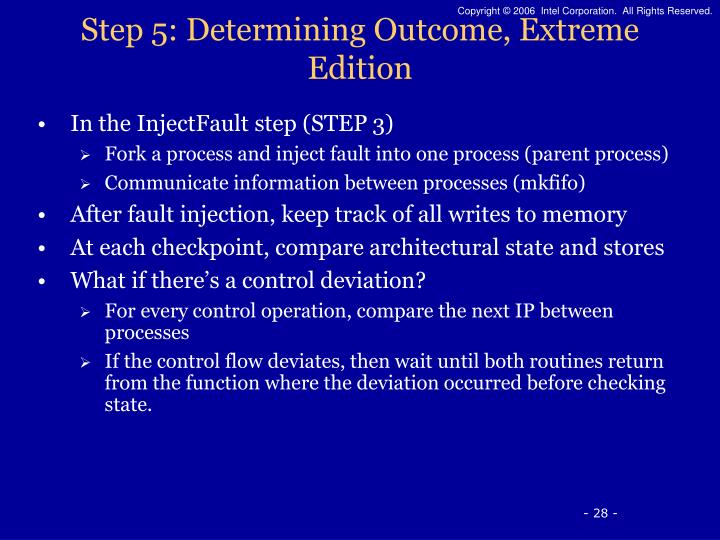 Step 5: Determining Outcome, Extreme Edition