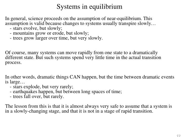 Systems in equilibrium