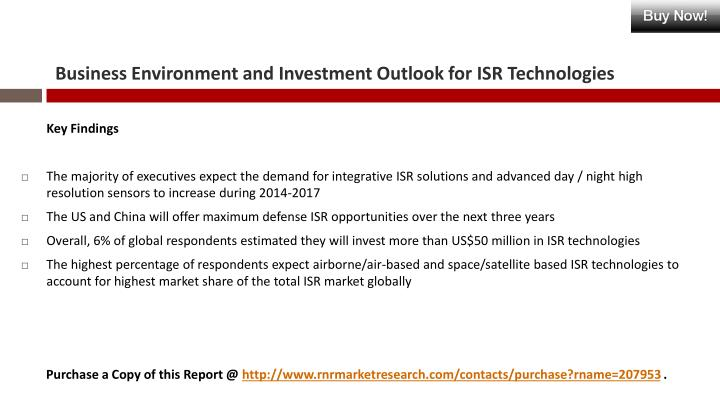 Business environment and investment outlook for isr technologies1