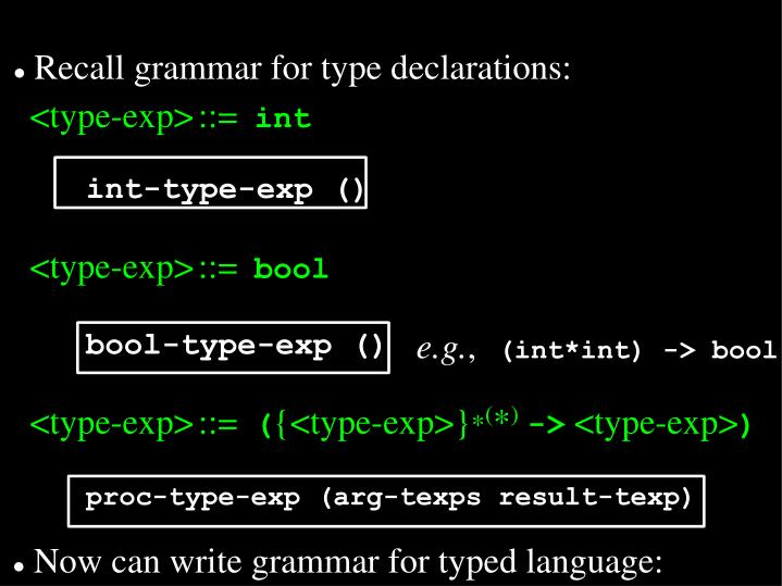 Recall grammar for type declarations: