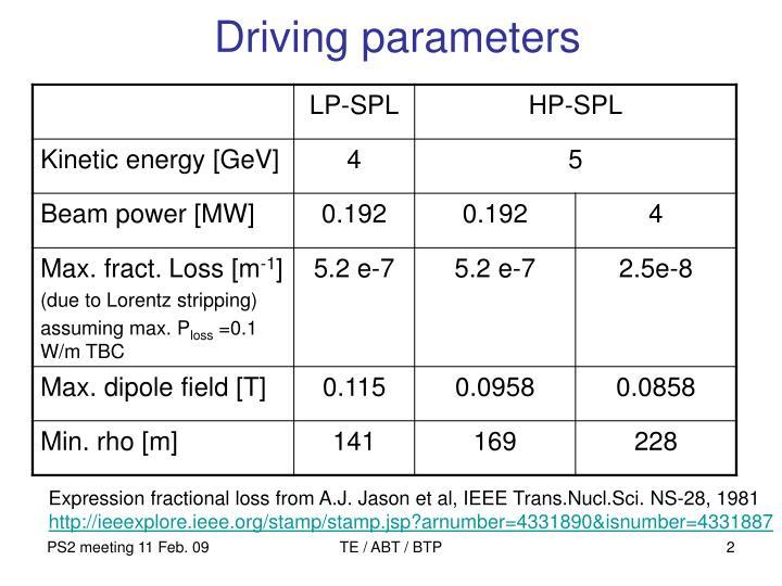 Driving parameters