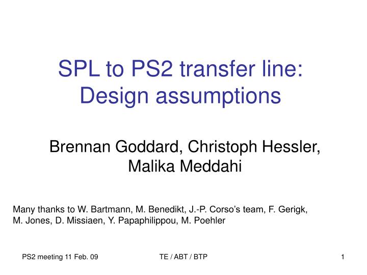 Spl to ps2 transfer line design assumptions