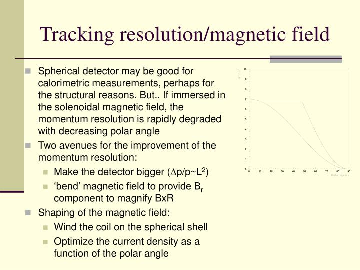 Tracking resolution/magnetic field