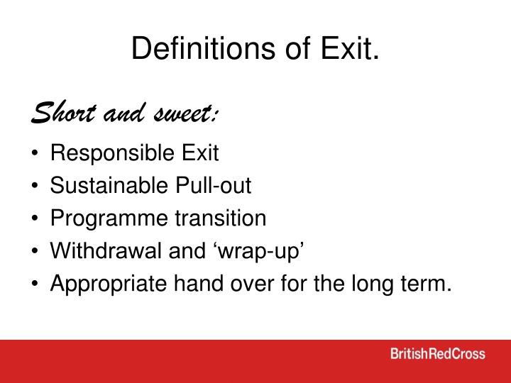 Definitions of Exit.