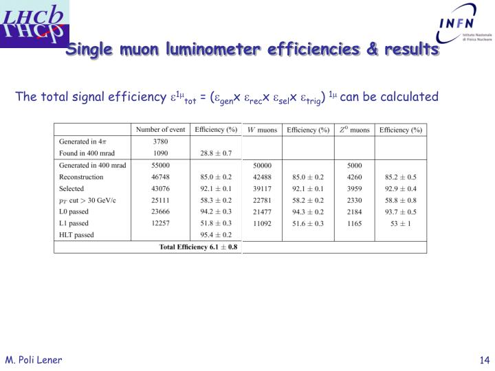 Single muon luminometer efficiencies & results