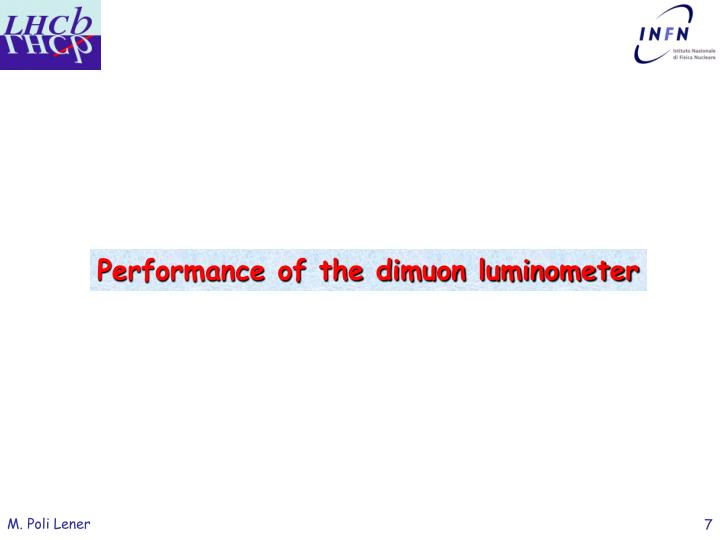 Performance of the dimuon luminometer