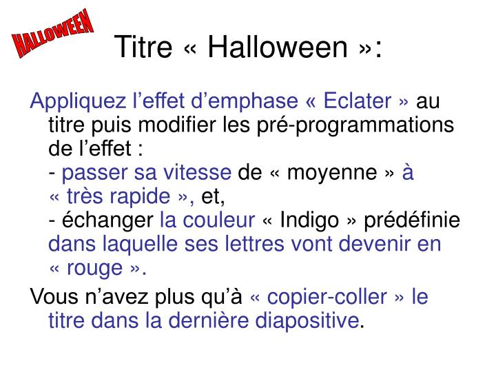 Titre «Halloween»:
