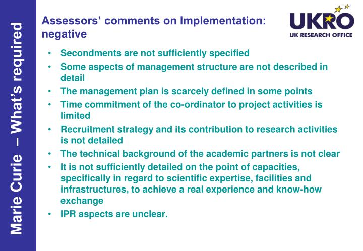 Assessors' comments on Implementation: negative