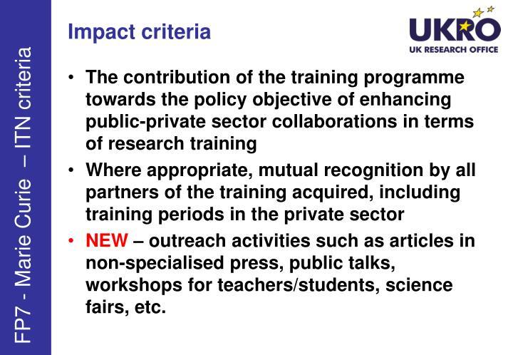 Impact criteria
