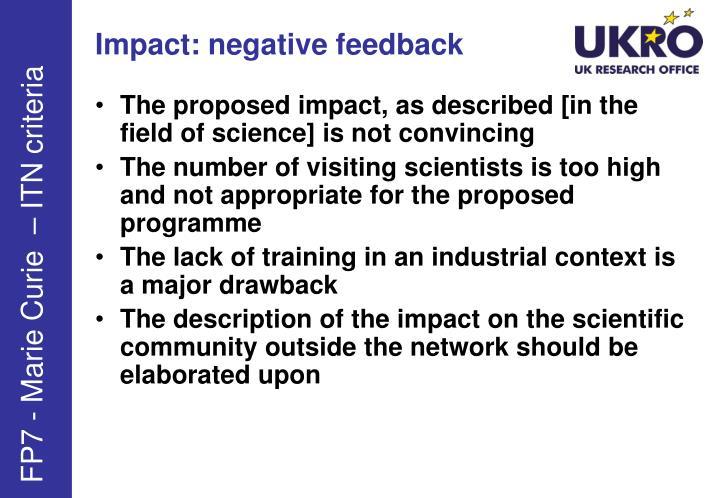 Impact: negative feedback