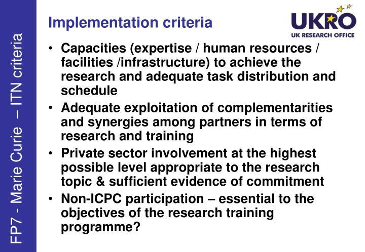 Implementation criteria