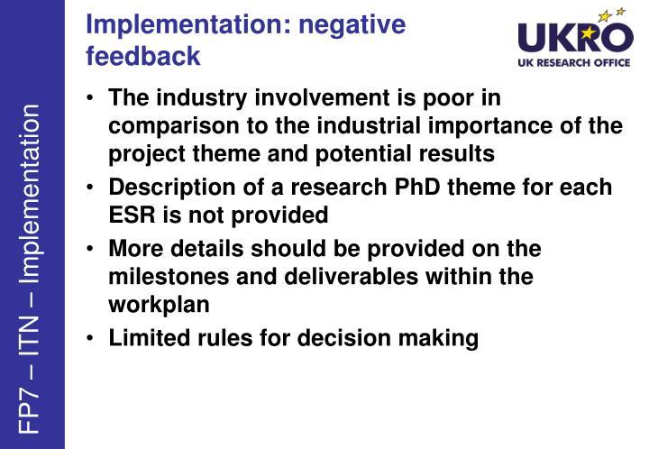 Implementation: negative feedback