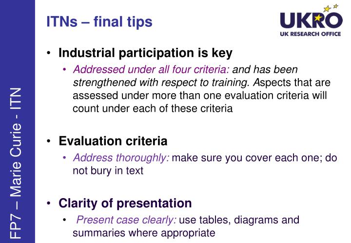 ITNs – final tips
