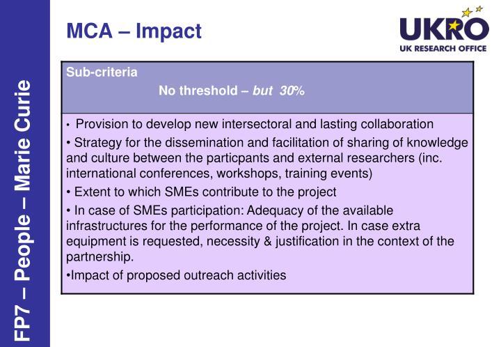 MCA – Impact