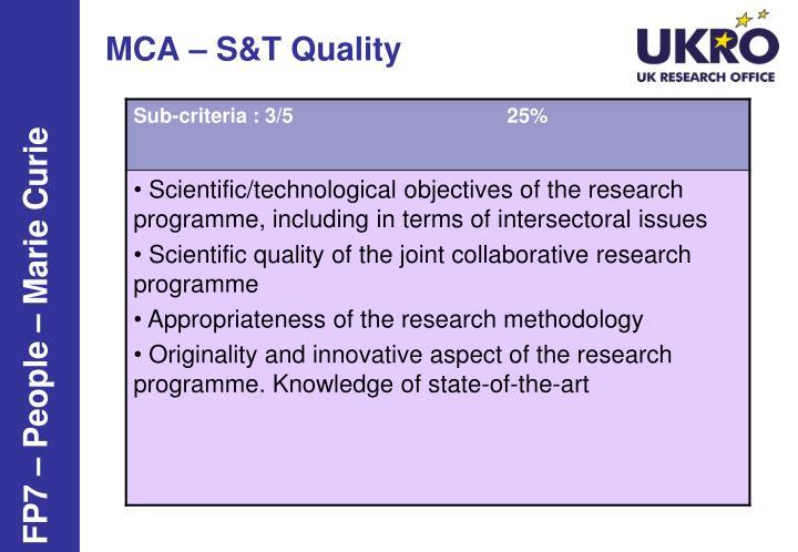 MCA – S&T Quality