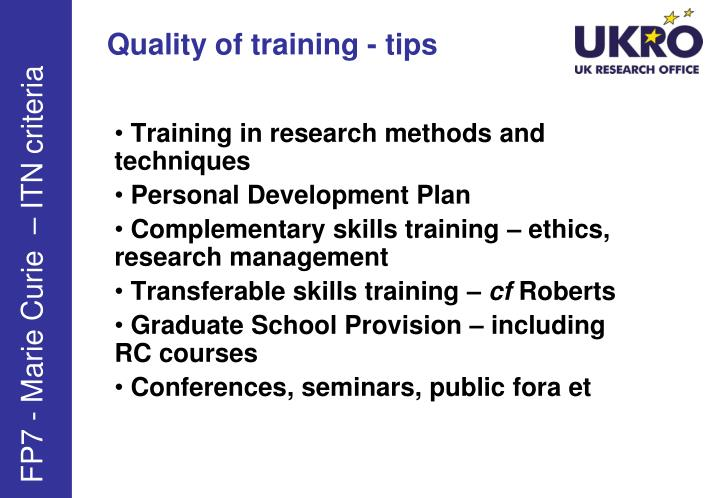 Quality of training - tips
