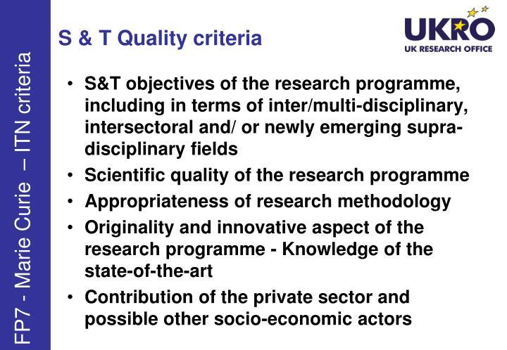 S & T Quality criteria