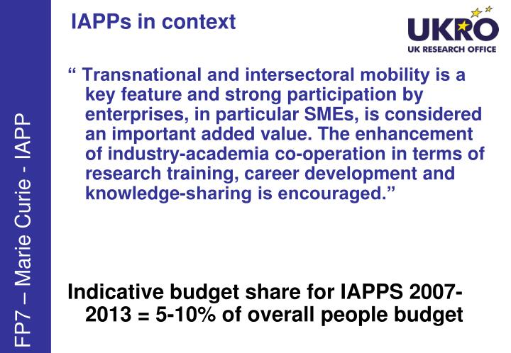 IAPPs in context