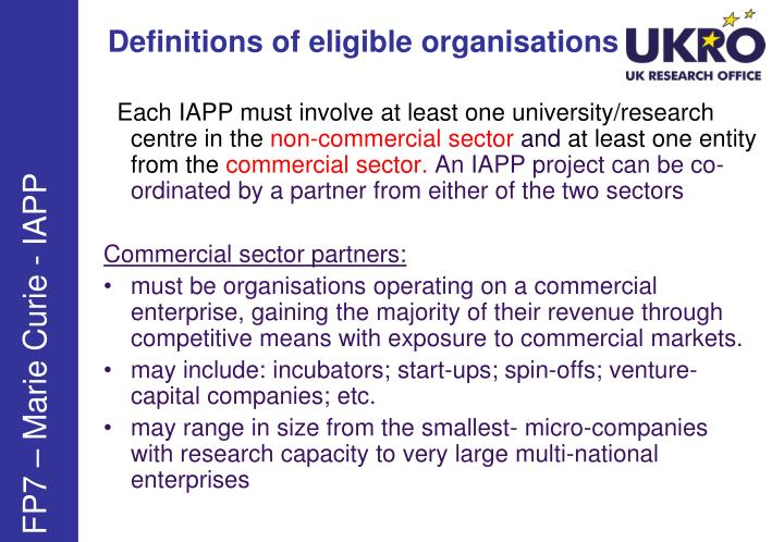 Definitions of eligible organisations