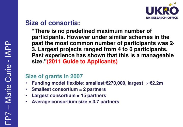 Size of consortia: