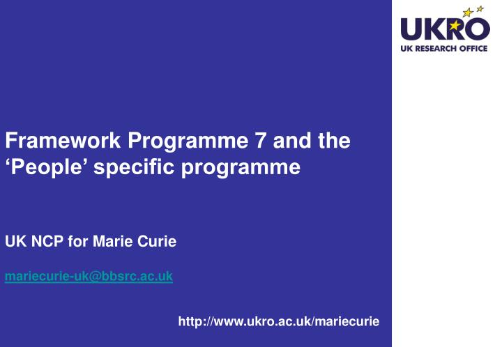 Framework Programme 7 and the 'People' specific programme
