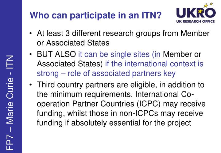 Who can participate in an ITN?