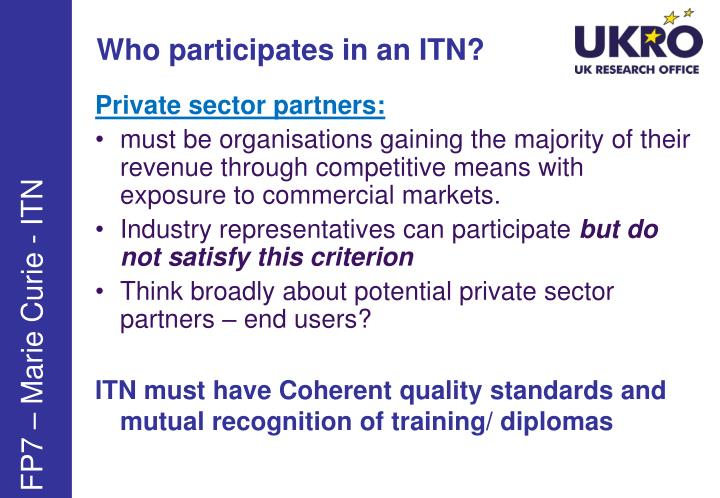 Who participates in an ITN?