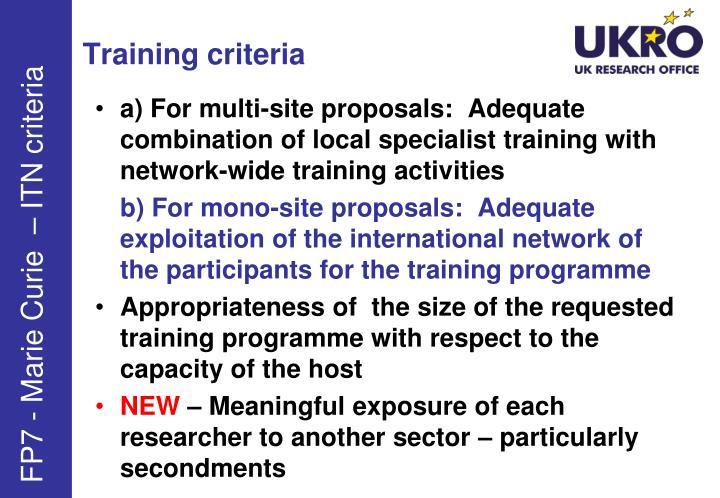 Training criteria