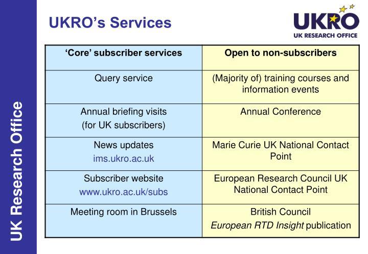 UKRO's Services