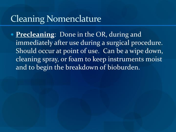 Cleaning Nomenclature