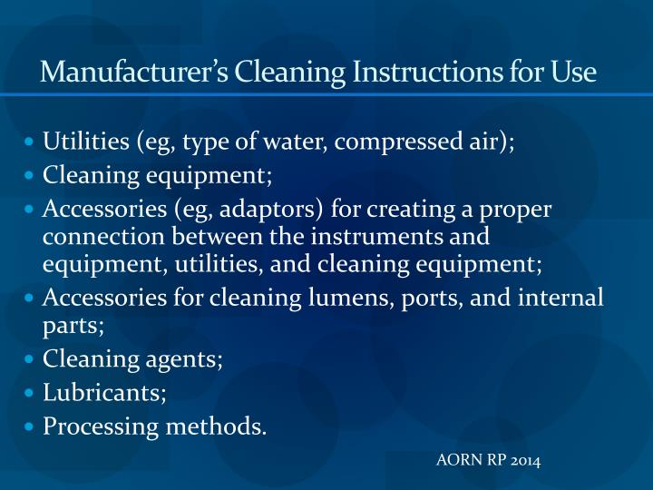 Manufacturer's Cleaning Instructions for Use