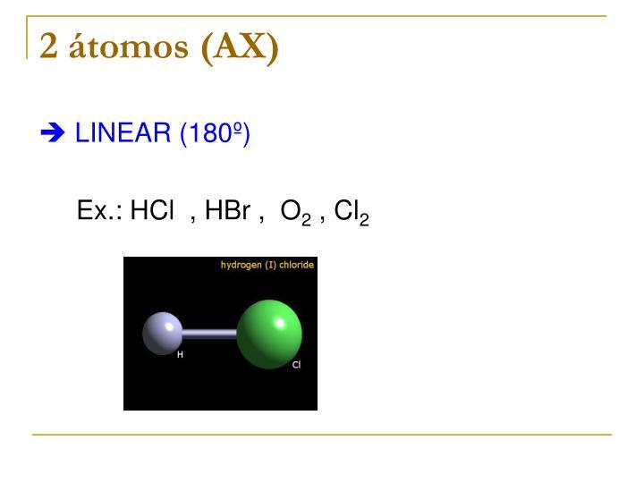 2 átomos (AX)