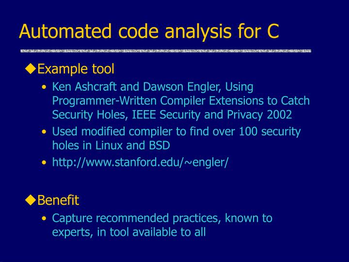 Automated code analysis for C