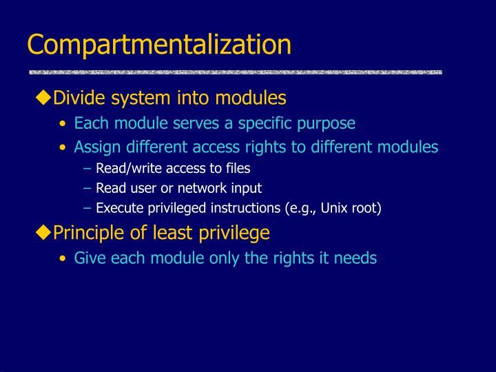 Compartmentalization