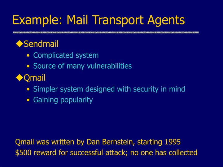 Example: Mail Transport Agents
