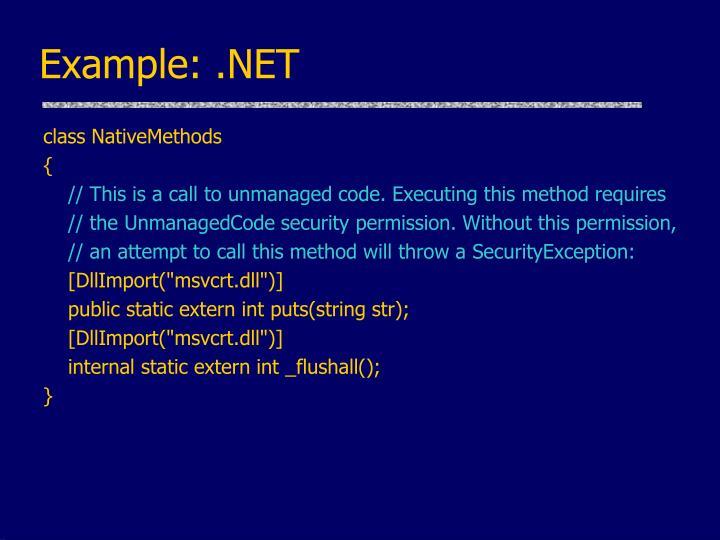 Example: .NET