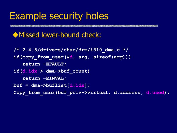 Example security holes
