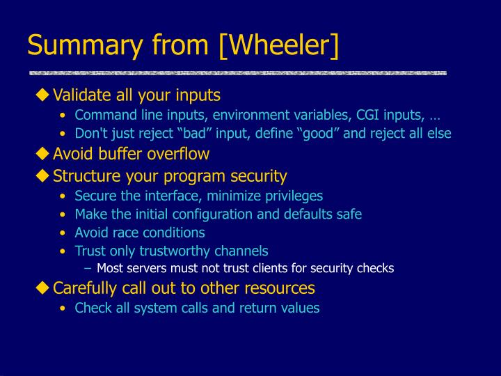 Summary from [Wheeler]