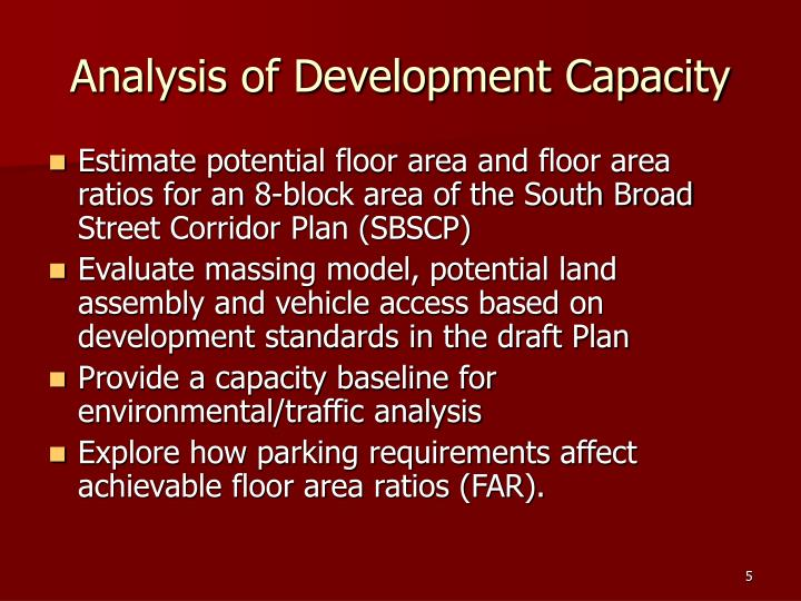 Analysis of Development Capacity
