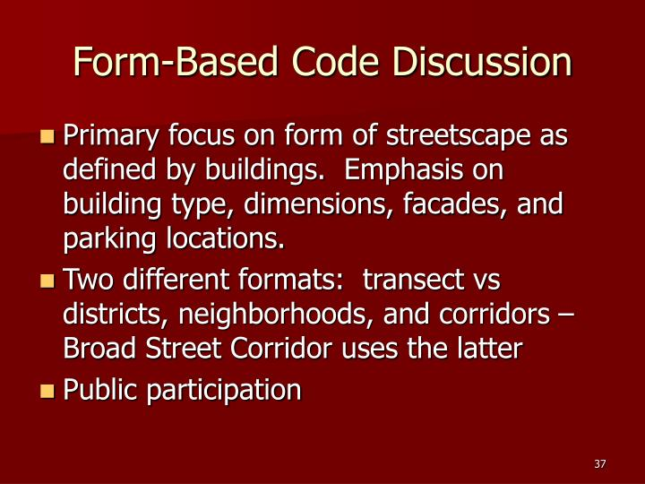 Form-Based Code Discussion