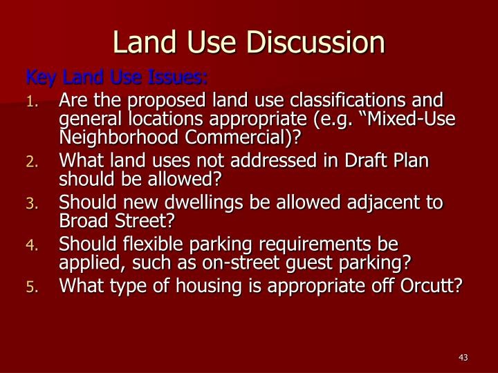 Land Use Discussion
