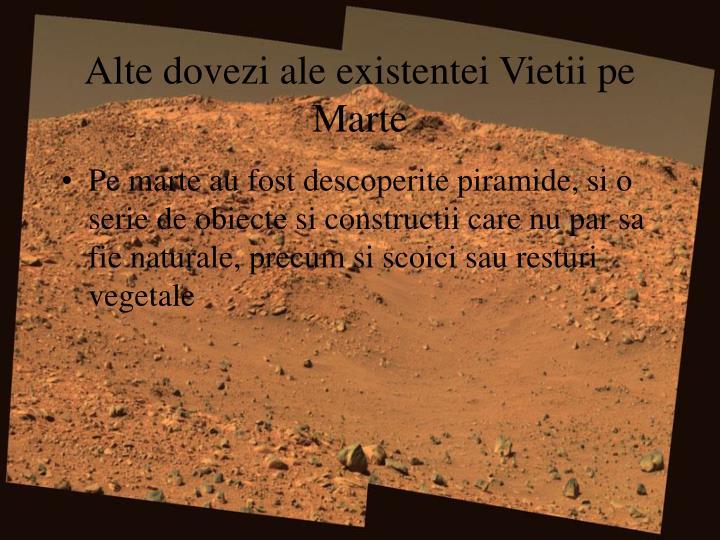 Alte dovezi ale existentei Vietii pe Marte