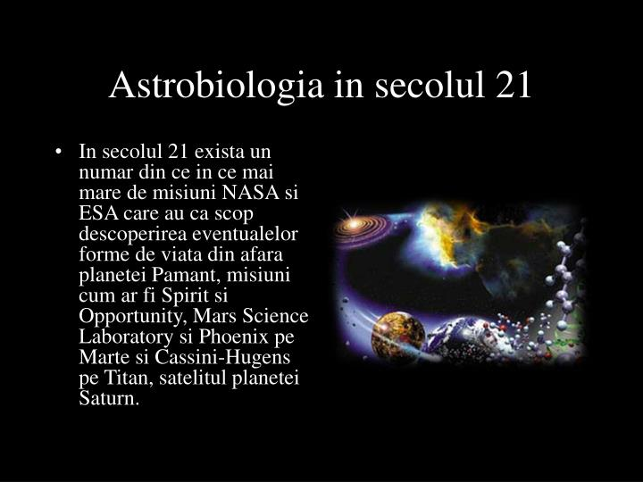 Astrobiologia in secolul 21