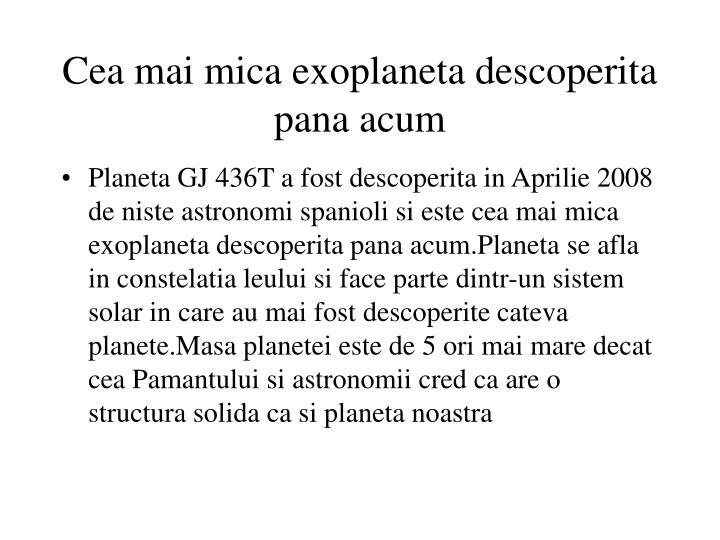 Cea mai mica exoplaneta descoperita pana acum
