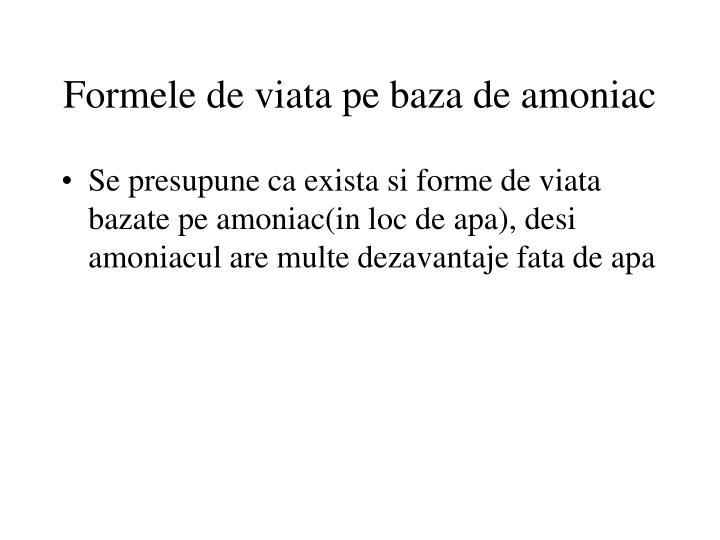 Formele de viata pe baza de amoniac