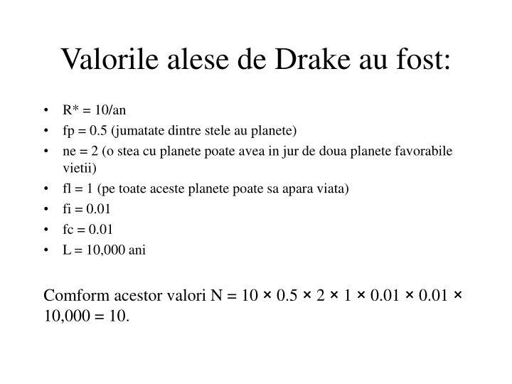 Valorile alese de Drake au fost: